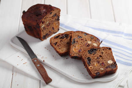 Fruchtebrot, traditional Austrian and German fruit bread with raisins, hazelnuts, and other fruits Stok Fotoğraf