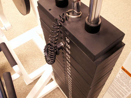 perspective shot of weights in a fitness center Stock Photo