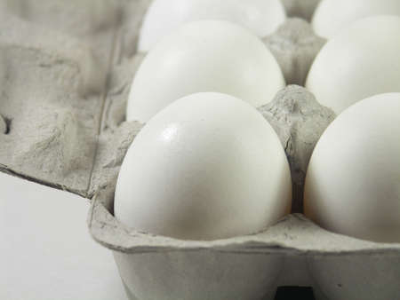 carton of a dozen eggs with focus on front left corner of carton Stock Photo - 259456