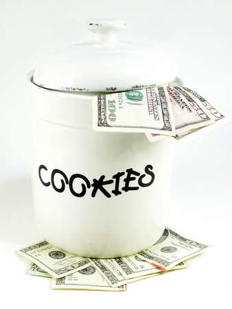 cooky: white cookie jar isolated on white with focus on the letters Stock Photo