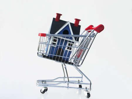 listing: Miniature casa en un carrito de la compra aislados en blanco para ilustrar a comprar un hogar.