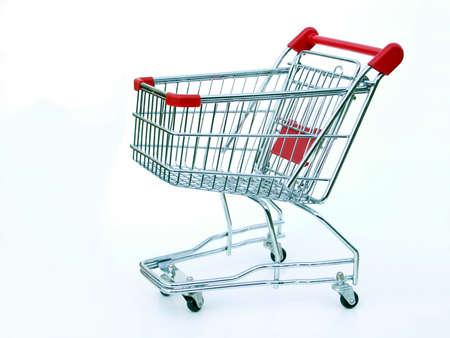 ミニチュア ショッピングカート白で隔離されます。