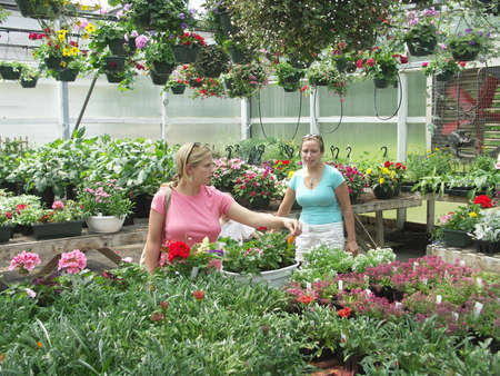 Two sisters shopping for plants and flowers at a greenhouse. Stock Photo