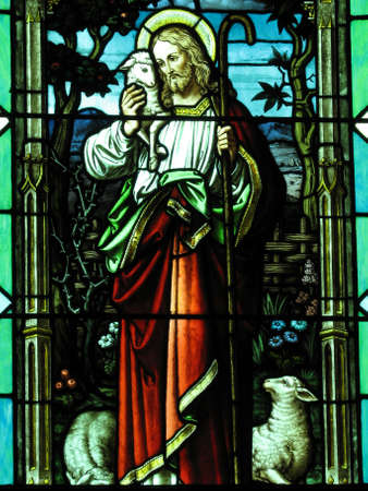 church window: Stained glass window in a church.