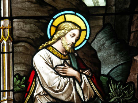 View of the stained glass window depicting Christ.