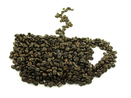 Coffee beans shaped in a coffee cup with steam on white. Stock Photo - 753898