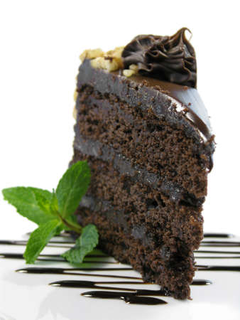 chocolate cake on a white plate drizzled with chocolate sauce and a sprig of mint.
