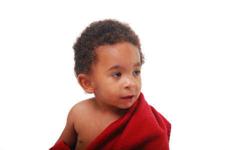 A multi-racial baby boy wrapped in a red blanket. Stock Photo - 3658027
