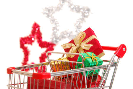 Presents in a shopping cart photo