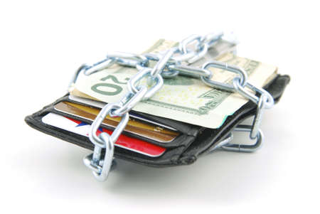 Wallet with cash and credit cards chained shut. Stock Photo - 5410724