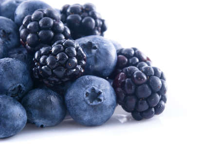 Close up of blueberries and blackberries in a pile Stock Photo - 5571582