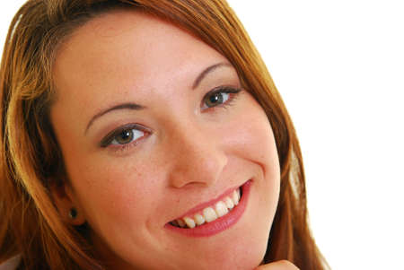 Portrait of a very attractive Caucasian woman smiling. photo