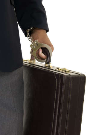 African American male hand cuffed to a briefcase. Stock Photo - 5996110