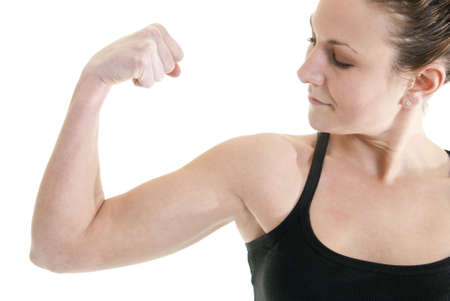Attractive, fit Caucasian woman flexes her muscle Stock Photo - 6187140