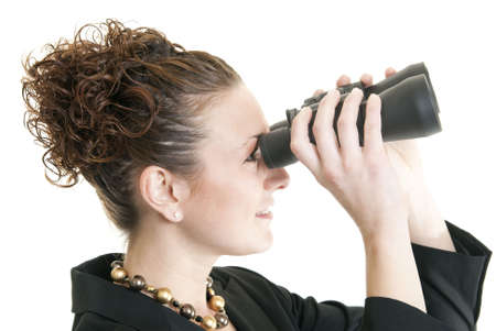 Business woman looking through binoculars Stock Photo - 6193322
