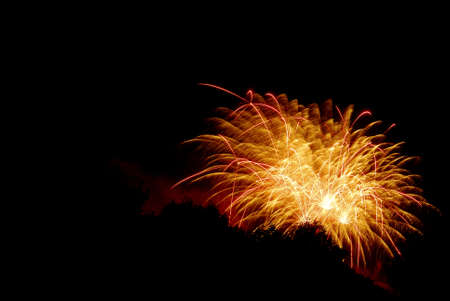 Fireworks against a black sky with trees silhouetted. Stock Photo - 7087270
