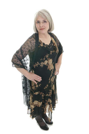 matron: Mature, attractive Caucasian woman in a dress and shawl.