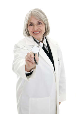 Focused on the female doctor with a stethoscope isolated on white background. photo