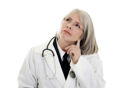 Female doctor with a stethoscope isolated on white background. Imagens