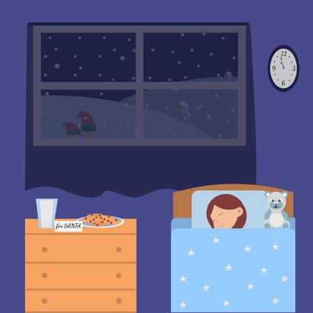On Christmas night a cute little girl sleeping in his blue bed, waiting for Santa Claus. Santa's milk, note and cookies. Elves look through the window into the room, Vector stock illustration