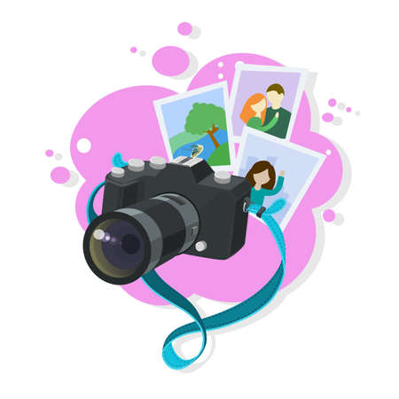 Black photo camera with turquoise strap floating in the air, memorable photographs, abstract pink bubble background