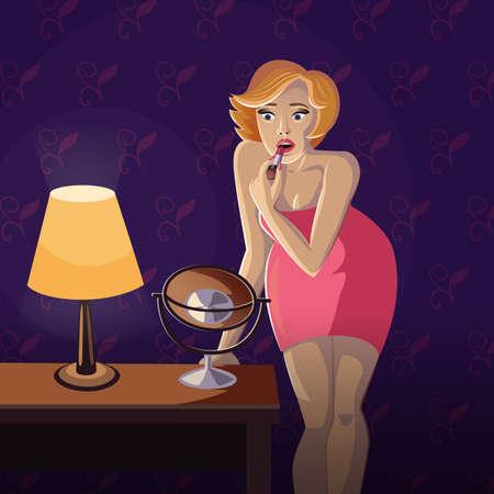 joven rubia que llevaba un vestido rojo está de pie cerca de una mesa con una lámpara en él y haciendo maquillaje delante de un espejo utilizando una barra de labios en el fondo del papel pintado
