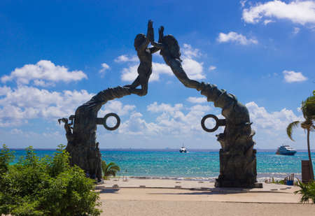 Mexico, playa del Carmen, portal maya sculpture