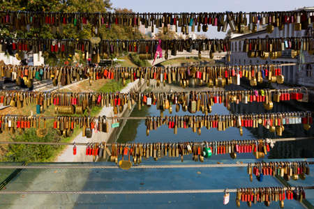 Love padlocks on Butchers Bridge in Lublana, Slovenia