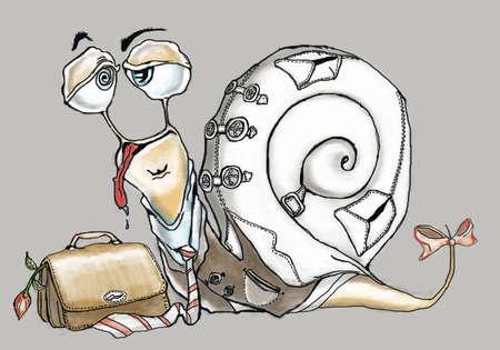 ironic: funny snail Stock Photo