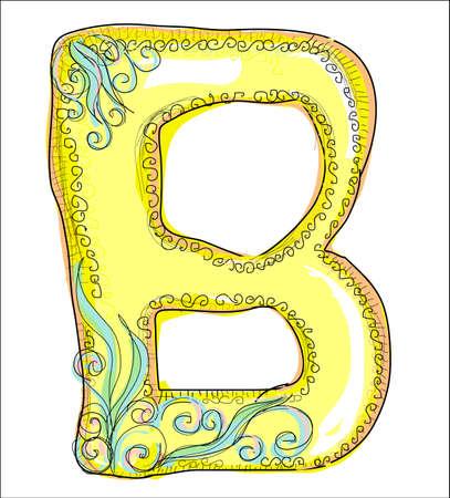 alphabet, golden letter B Vector