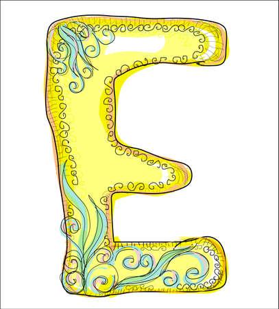 letter: alphabet, golden letter E