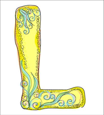alphabet, golden letter L Stock Vector - 9696976