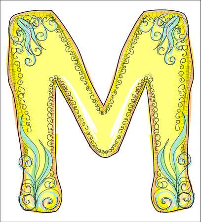 old letters: alphabet, golden letter M Illustration