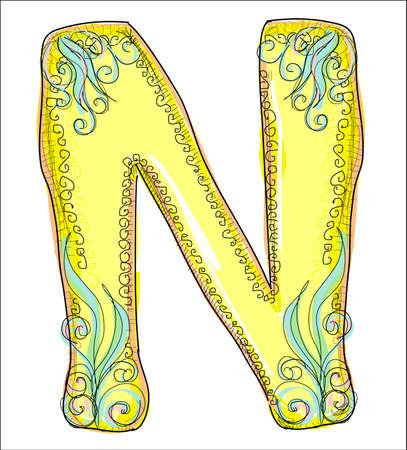 alphabet, golden letter N Vector