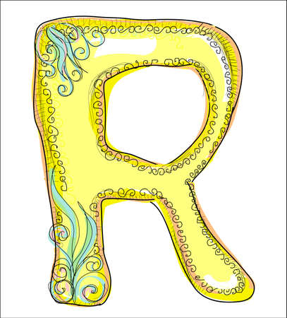 alphabet, golden letter R Illustration
