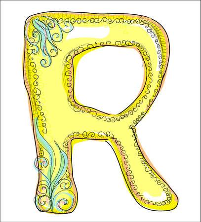 old letters: alphabet, golden letter R Illustration