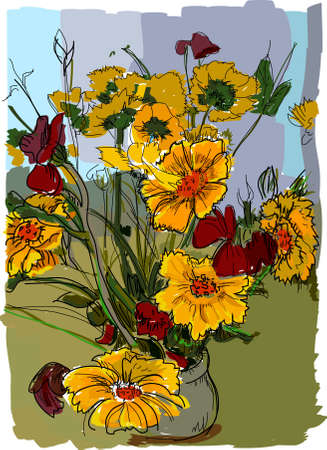 bouquet of flowers vector painting Illustration