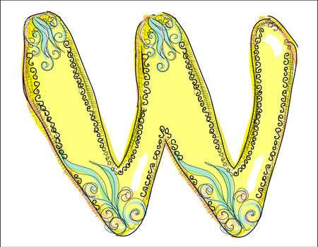 old letters: alphabet, golden letter W