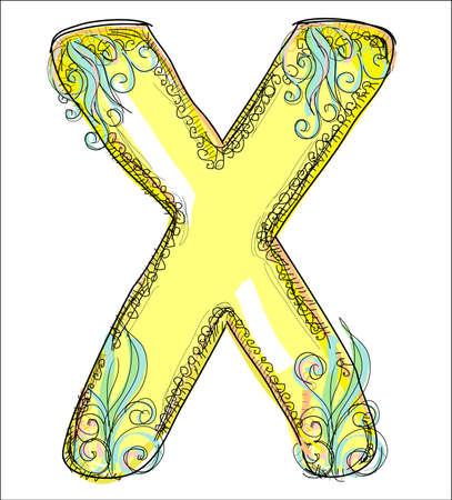 alphabet, golden letter X Vector