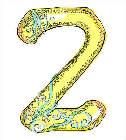 alphabet, golden letter Z Vector