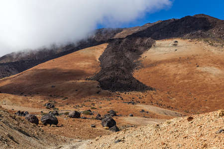 volcano slope: Slope of Mount Teide volcano in Tenerife Canary Islands with old washing runs Stock Photo