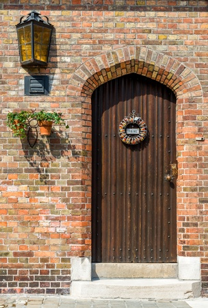 Beautifully decorated door in Bruges, Belgium photo