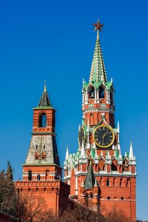 spasskaya: Spasskaya Tower of Moscow Kremlin Stock Photo