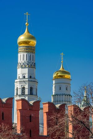 battlements: Ivan the Great Bell Tower and battlements of the Kremlin wall Stock Photo