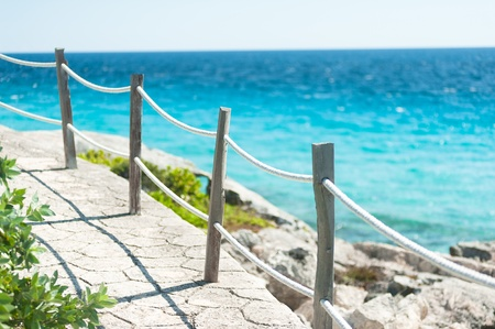 mujeres: Tourist trail on Isla Mujeres in Cancun, Mexico Stock Photo