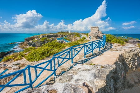 cancun: Tourist trail and archaeological site on Isla Mujeres in Cancun, Mexico