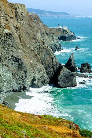 Rocky coastline in California, USA photo