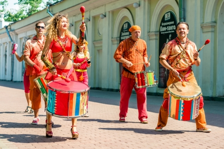 colorific: MOSCOW, RUSSIA - 18 MAY: Participants of annual carnival in Moscow in Ermitage Garden - baraban show group Marakatu. Moscow, 18 may, 2013