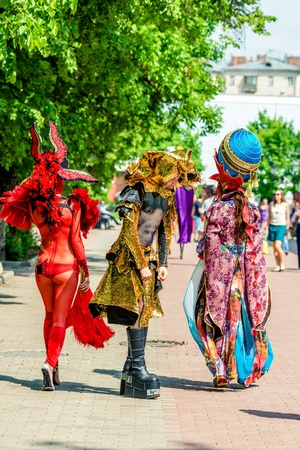 colorific: MOSCOW, RUSSIA - 18 MAY: Participants of annual carnival in Moscow in Ermitage Garden. Moscow, 18 may, 2013