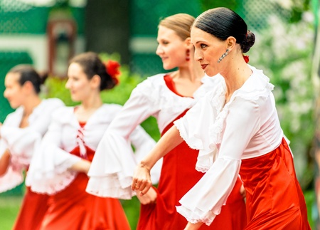 MOSCOW, RUSSIA - 18 MAY: Participants of annual carnival in Moscow in Ermitage Garden - flamenco dancers. Moscow, 18 may, 2013